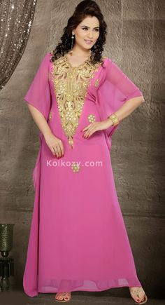 Unique Styling And Unusual Material Pamper The Women In You With This Beautifulcharming Pink Color Faux Georgette #Designer #Kaftan.