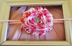 Hot Pink and White Heart Print Shabby Chic Flower Rose on Skinny Headband - Photo Prop - Gift - Newborn Baby Little Girl Hair Bow on Etsy, $2.99