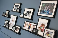 should i fill the blank wall in my living room with lots of ikea ledges with family pictures like this? Ikea Picture Shelves, Photo Shelf, Photo Ledge, Picture Walls, Picture Photo, Photo Art, Picture Frames, Ikea Pictures, Hanging Pictures