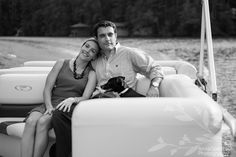 Anna and Spencer Photography , Atlanta wedding photographers . Seed Lake Georgia engagement . Engagement session on a pontoon boat on Seed Lake .
