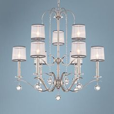 """Quoizel Whitney 32"""" Wide Imperial Silver Chandelier"""