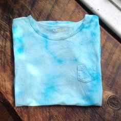 Blue tie die t-shirt Simple and cute blue tie die t- shirt with small breast pocket. Express Tops Tees - Short Sleeve