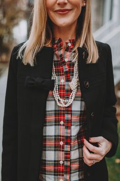Tartan Ruffled Shirt: 40 to 50 percent off with code Two things about this shirt: it's very thin, and it run Tartan, Red Plaid, Plaid Shirt Outfits, Velvet Leggings, Ruffle Shirt, Autumn Winter Fashion, Fashion Fall, Style Inspiration, Clothes For Women