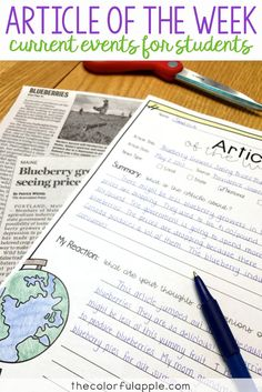Article of the Week is a great way to incorporate current events into your upper elementary classroom. Includes a template and rubric for FREE!