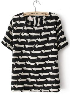Black Short Sleeve Overlay Cats Print T-shirt