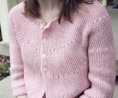 Free Pattern.  The cardigan is knit all in one piece, from the left side to the right, with almost no seaming (I love that!). The yoke and body are shaped with uncomplicated short rows, and the garter stitch throughout keeps the design simple but sophisticated. Corinne cardigan : Knitty Spring+Summer 2011