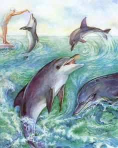 Dolphins Painting  - Dolphins Fine Art Print
