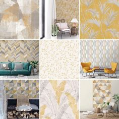 A very small selection of our very large collection of mustard wallpapers! Mustard Wallpaper, Rose Wallpaper, Vivienne, Interiors, Wallpapers, Collection, Beautiful, Home Decor, Decoration Home