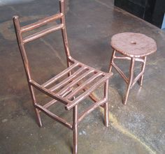 Max Lamb, copper chair and table