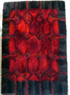 Finnish Rya/Ryijy Mid-Century Mod Shag Rug Excellent Black Red Motif: Wow, Baby!