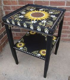 Art: Sunflower Table by Artist Shelly Bedsaul Hand Painted Chairs, Whimsical Painted Furniture, Hand Painted Furniture, Funky Furniture, Art Furniture, Repurposed Furniture, Furniture Projects, Furniture Makeover, Painted Tables