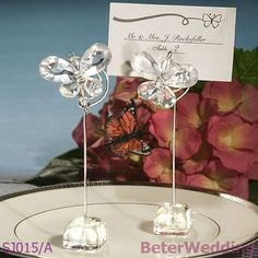 BeterWedding decorative wholesale Exquisite Clear Butterfly Place Card Holders SJ015/A Wedding Favor