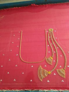 Work design by Prachi for silk plain saree Hand Work Blouse Design, Simple Blouse Designs, Saree Blouse Neck Designs, Stylish Blouse Design, Dress Neck Designs, Bridal Blouse Designs, Aari Work Blouse, Sleeve Designs, Blouse Patterns