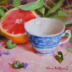 "Daily+Paintworks+-+""Cup+and+Grapefruit""+-+Original+Fine+Art+for+Sale+-+©+Elena+Katsyura"