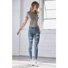 Bullhead Denim Co. Tally Blue Ripped High Rise Skinny Jeans ($50) ❤ liked on Polyvore featuring jeans, high waisted jeans, high waisted destroyed jeans, long skinny jeans, destroyed jeans y distressed jeans