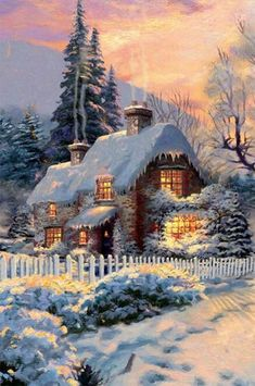 Christmas Scenery, Magical Christmas, Christmas Art, Thomas Kinkade Art, Thomas Kinkade Christmas, Painting Snow, Winter Painting, Vintage Christmas Images, Christmas Pictures