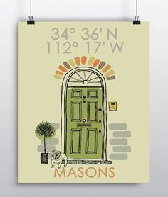 Latitude Longitude New Home Art Print Personalized Housewarming Gift, Newlyweds Wedding Gift Wall Art Handmade Custom Housewarming Gift. Personalize this adorable home sweet home front door and little dog illustration with longitude and latitude coordinates and family name. This art print will make the perfect housewarming, newlywed or wedding gift. Please provide Full home address including zip-code for the Latitude & Longitude coordinates. =======PROOFS======= Once your order is placed...