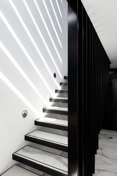Modern Stairs // Black, white and stone minimalist stairs, Bondi House by Katon Redgen Mathieson