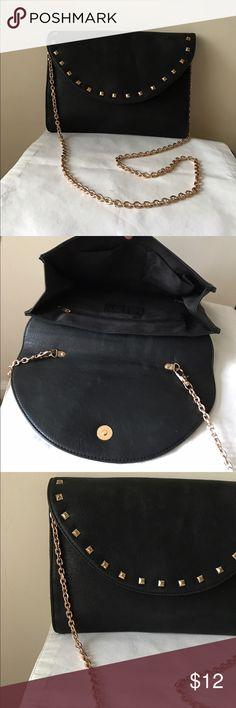 "Line & Dot black studded envelope crossbody bag Black with gold studded details - flap snap closure - detachable chain strap - 11"" x 9"" x 2"" - 21"" strap drop - excellent condition Line & Dot Bags Crossbody Bags"