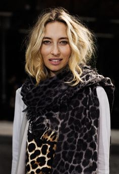 Captivated by this look - the wavy hair, dark eyebrows, leopard on leopard. Fashion Week, Girl Fashion, Dark Eyebrows, Animal Print Scarf, Animal Prints, Sartorialist, Cool Style, My Style, Mademoiselle