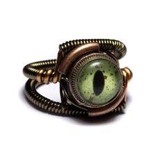 Green Reptile Taxidermy Eye Steampunk Ring