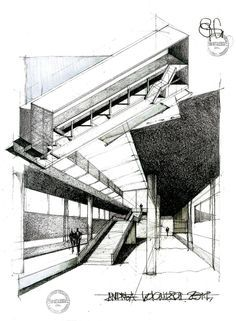 Conrad Roland's drawing for an exhibition hall with floating levels, 1964 - Google Search