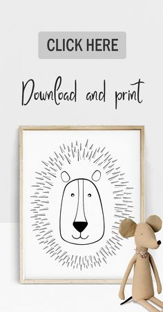Cute Lion Line Drawing Nursery Wall Art