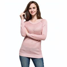 Spring Autumn Knitted Pullover Sweater Top Jumper O-Neck Long Sleeve Thin Hollow out Solid Color Loose Sweet Dress