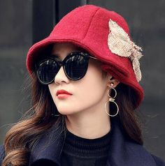 aa82023f442 Red bow bucket hat for women autumn soft wool hats