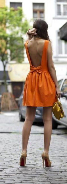 street fashion, orange dress, heels, lovely summer, backless