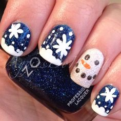 Christmas nails 2013 snow man nails with zoya dream ⛄️❄️