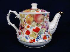 WINDSOR England Porcelain Teapot Gold Trim Fruit Grapes Berries Plum 40 Oz #Victorian