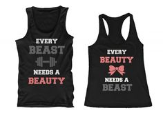 Beauty and Beast Need Each Other His and Her Matching Tank Tops for Couples
