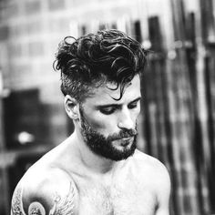 Messy Curly Hair + Full Short Beard