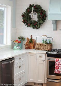 Gorgeous Coastal Lake Style Kitchen decorated for Christmas at thehappyhousie.com-10