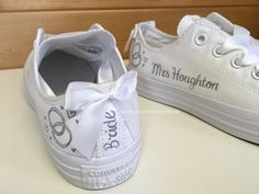 Linked Rings Linked Rings Personalised Linked Rings Wedding Converse with white bows . Bride Converse, Converse Wedding Shoes, Wedding Sneakers, Custom Converse, Bride Shoes, Custom Shoes, Personalised Converse, Wedding Tennis Shoes, Blush Wedding Shoes