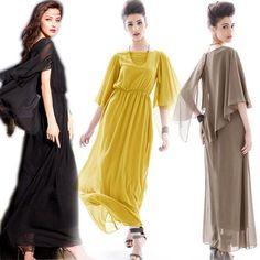 Women Dresses Chiffon Butterfly Sleeve Goddess Maxi Evening Dress 5 Color G9053N | eBay
