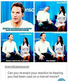 "Chris Pratt answers ""Can you re-enact your reaction to hearing you had been cast in a Marvel movie? Marvel Funny, Marvel Dc Comics, Marvel Movies, Avengers Movies, Marvel Actors, Superhero Movies, Fandoms, Fangirl, Pokerface"
