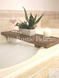 Rustic Bathtub Caddy-Wood Bathtub Tray - Bath shelf - reclaimed wood -barn wood Design- iPad-Bathtub Tray -Tablet -Bath Tray-Tablet Tray
