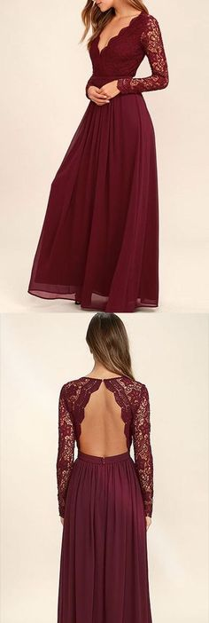 v-neck long prom dress lace chiffon a-line backless evening dress,HS285  #fashion#promdress#eveningdress#promgowns#cocktaildress