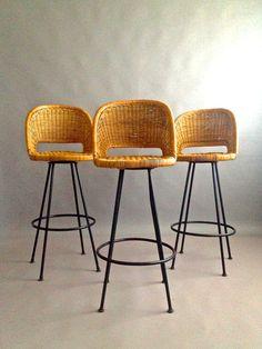 R E S E R V E D /// Mid Century Iron Stools -gorgeous Boho Woven Reed Seats…