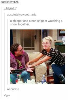 But nobody gets that's what was actually happening in the photo. Penny was fangirling over Shamy
