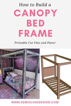 Woodworking Projects and Building Ideas Learn how to build a DIY canopy bed frame. This modern bed c Modern Canopy Bed, Twin Canopy Bed, Canopy Bed Frame, Diy Canopy, Twin Beds, Modern Bedding, Unique Bedding, Diy Twin Bed Frame, Diy Frame