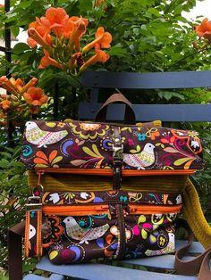Sac à dos Troïka en toile colorée et velours cousu par Dominique - Patron Sacôtin
