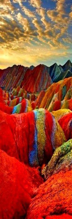 Rainbow Mountains, Zhangye Danxia Landform Geological Park, Gansu, China