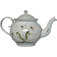 Art Nouveau Inspired Floral Design Granite Ware Teapot