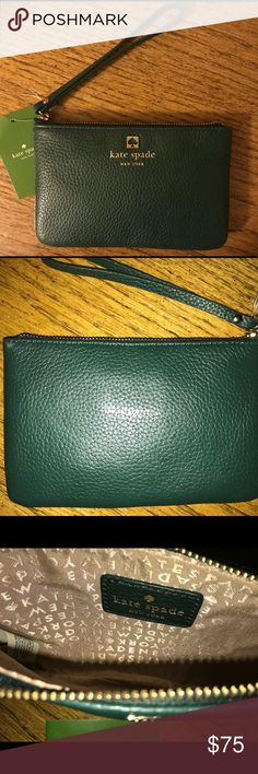 🆕 Kate Spade bee grant park zip wristlet NWT Kate Spade New York Bee Grant Park Zip wristlet. The color is a gorgeous green called Nightforest. Leather with gold tone hardware. Comes with care card. Please view all photos and ask any questions you may have prior to purchasing 💕  ❌No Trades❌  ⭐️Bundle & Save⭐️ kate spade Bags Clutches & Wristlets