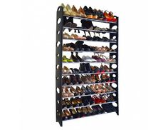 10 Tier 50 Pair Shoe Rack Shelf Storage DIY Large Shoe Cabinet Tower Shoes Organizer for Home Black & Silver