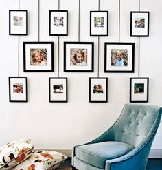 Photo display system is easy to change, without putting holes in wall. Decorated by Anne Turner Carroll and Katherine Cobbs. Photo by Jason Bernhaut for Cottage Living. by audrey Home Interior, Interior Design, Photo Deco, Wall Of Fame, Creation Deco, Cottage Living, Photo Displays, Display Photos, Frames On Wall