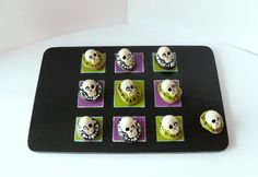 Handmade Board Game - Classic Tic Tac Toe Game - Halloween Game - Polymer Clay Skull - Summon The Dead  Set - OOAK
